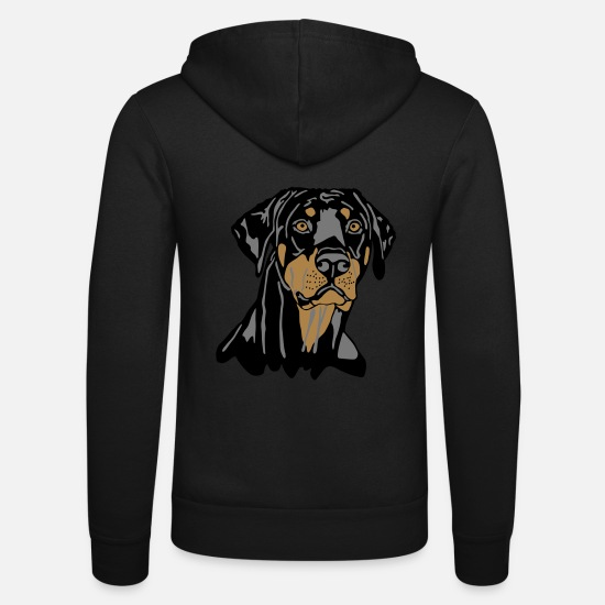 Hund Tröjor & hoodies - Dobermann Pinscher Black Head - Zip hoodie unisex svart