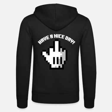 Stink Retro pixel middle finger Have a nice day sarcasm - Unisex Zip Hoodie