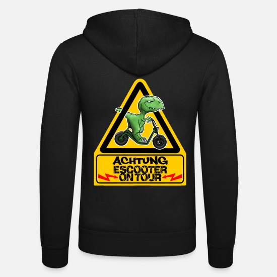 Dino Hoodies & Sweatshirts - Attention Escooter on tour - Unisex Zip Hoodie black