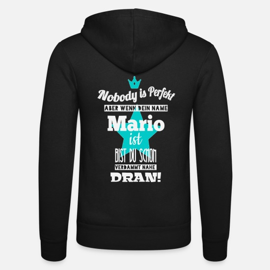 Birthday Hoodies & Sweatshirts - Mario men's name cool sayings gift first name - Unisex Zip Hoodie black