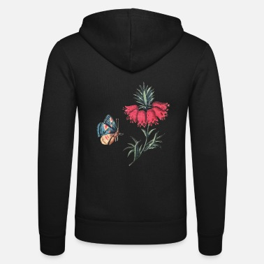 Flying butterfly with flowers - Unisex Zip Hoodie