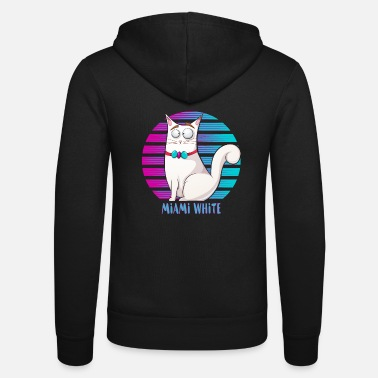 Tekstballon Funny Cat Miami Comic White T Shirt - Unisex Zip Hoodie
