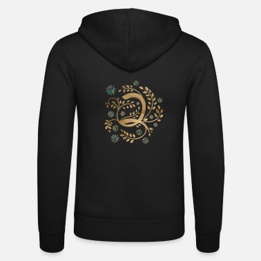 Luxury Luxury Golden Calligraphy Monogram with letter Q - Unisex Zip Hoodie