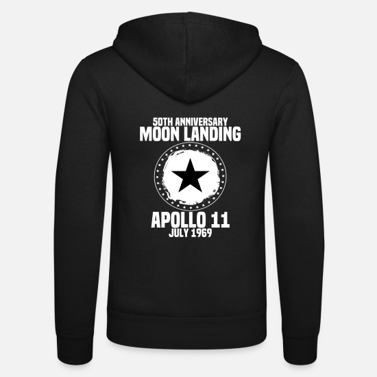Moon Hoodies & Sweatshirts - moon-landing - Unisex Zip Hoodie black