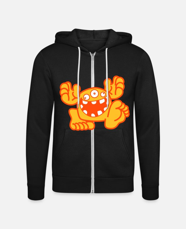Small Hoodies & Sweatshirts - Proud To Be A Monster Cartoon by Cheerful Madness! - Unisex Zip Hoodie black