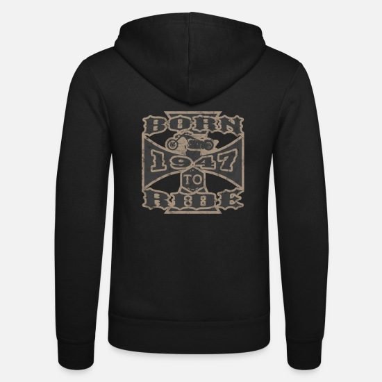 Birthday Hoodies & Sweatshirts - Born to ride motorcycle biker 1947 - Unisex Zip Hoodie black