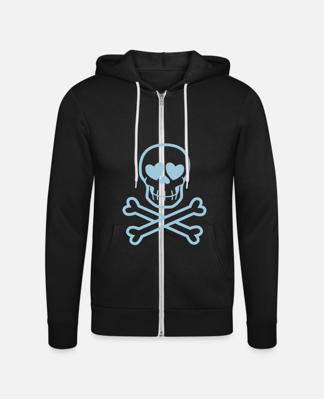 Heart Hoodies & Sweatshirts - Eros & Thanatos Skull and Crossbones by Cheerful - Unisex Zip Hoodie black