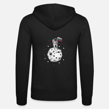 Russian Astronaut with Russian flag on the moon - Unisex Zip Hoodie