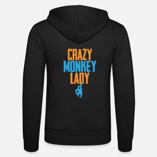 Banana Hoodies & Sweatshirts - Crazy Monkey Lady - Unisex Zip Hoodie black