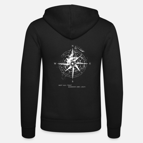 Lost Sweaters & hoodies - Not All That Wander Are Lost Compass Map - Unisex zip hoodie zwart