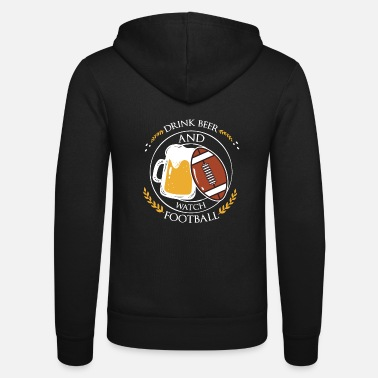 Football Cool Beer Drinking And Football Peeking Design - Felpa con zip unisex