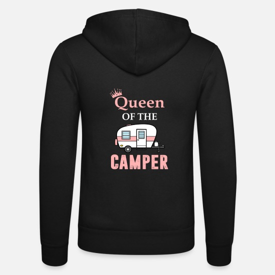 Tent Hoodies & Sweatshirts - QUEEN of the camper funny camping outdoor - Unisex Zip Hoodie black