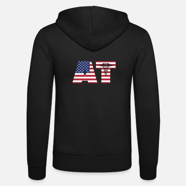 AT Athletic Trainer Fitness Gift America Gym - Unisex Zip Hoodie