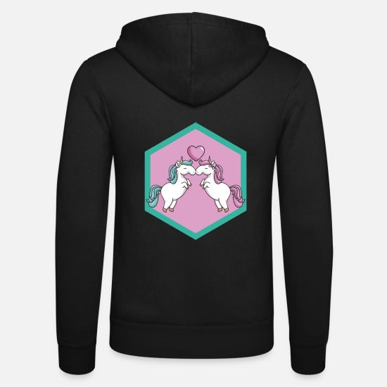 Love Hoodies & Sweatshirts - Unicorn, love - Unisex Zip Hoodie black