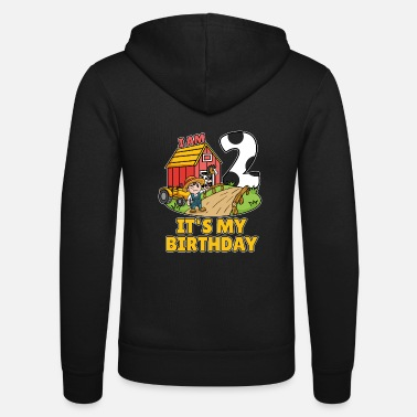 Tractor 2 Year Old I'm 2, Tractor 2 Years Old Farmer Birthday Gift - Unisex Zip Hoodie