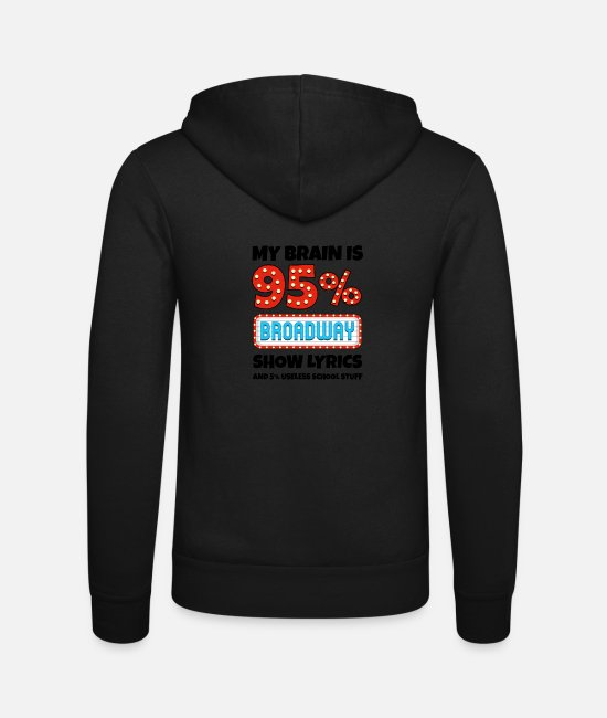 Movie Hoodies & Sweatshirts - My Brain Is 95% Broadway Lyrics Funny Gift - Unisex Zip Hoodie black