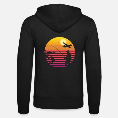 Smell Fly Fishing at Sunset | Cool Vintage Retro - Unisex Zip Hoodie