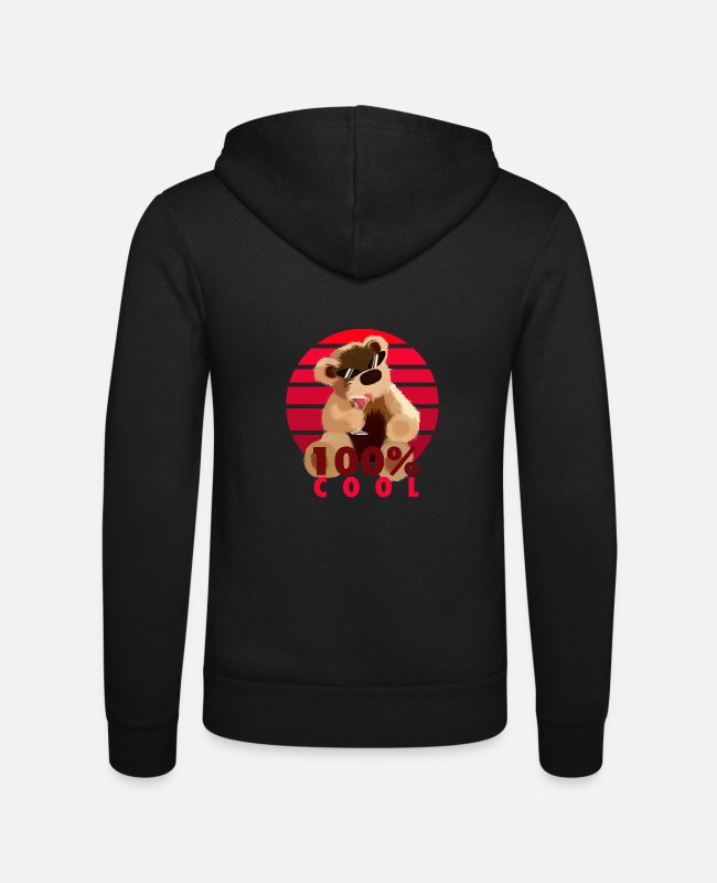 Teddy Bears Hoodies & Sweatshirts - Teddy is 100% cool - Unisex Zip Hoodie black