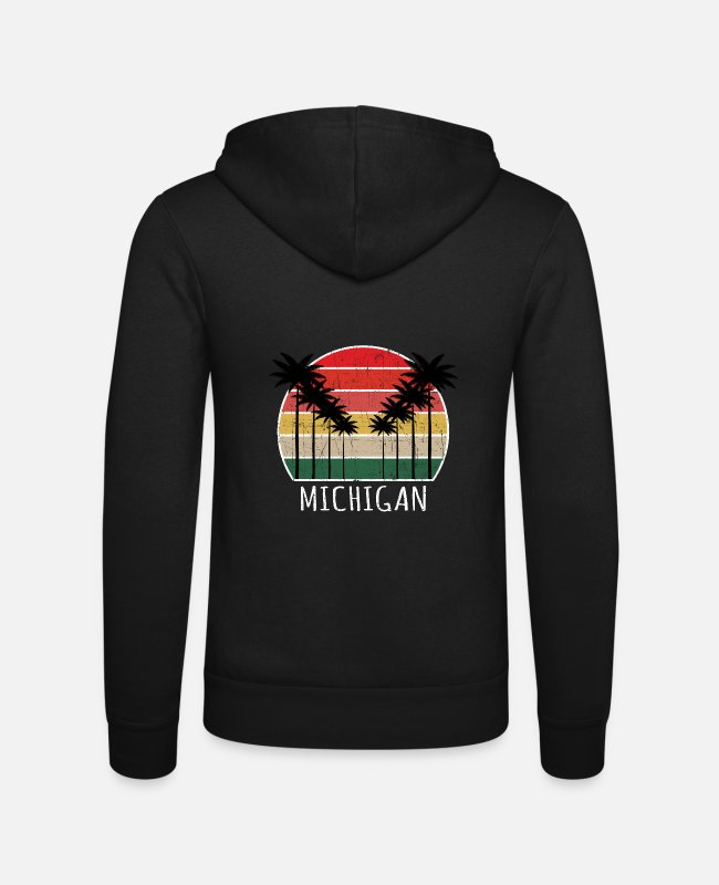Feuerstein Pullover & Hoodies - Palm Tree Distressed Michigan - Beach Design T-Shi - Unisex Kapuzenjacke Schwarz