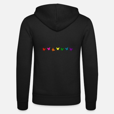 Butterfly Rainbow butterfly line decor pride flag - Unisex Zip Hoodie