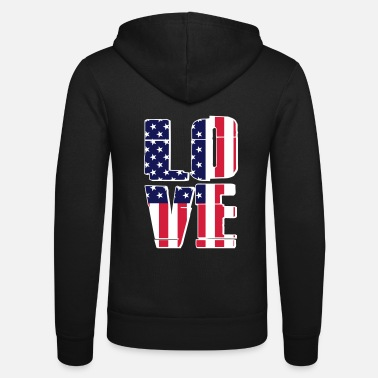 Usa USA Flag - Love - Felpa con zip unisex