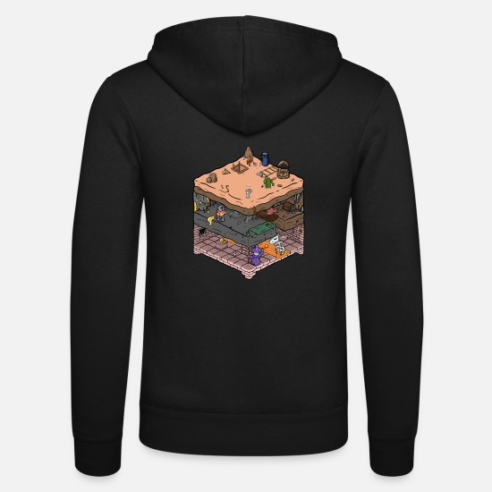 Game Hoodies & Sweatshirts - Isometric video game dungeon - Unisex Zip Hoodie black