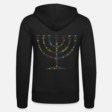 Menorah Snowflakes word cloud in menorah shape (christmas - Unisex Zip Hoodie