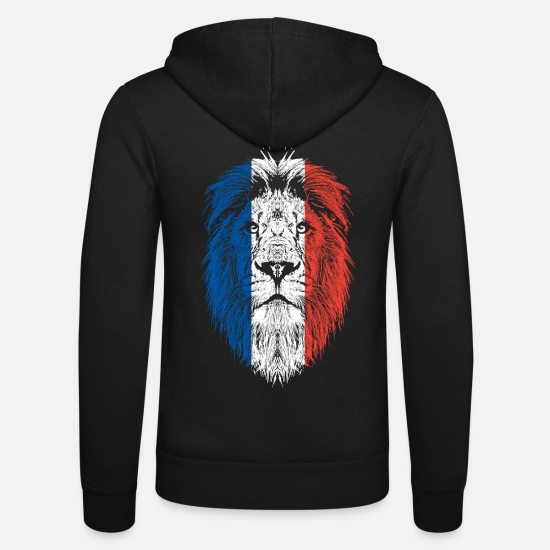 French Flag Hoodies & Sweatshirts - France flag with lion - Unisex Zip Hoodie black