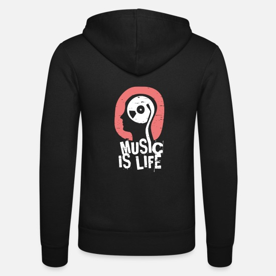 Music Hoodies & Sweatshirts - Music Is Life Shirt - Unisex Zip Hoodie black