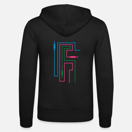 Party Hoodies & Sweatshirts - TON TRON - jack plug with cable - Unisex Zip Hoodie black