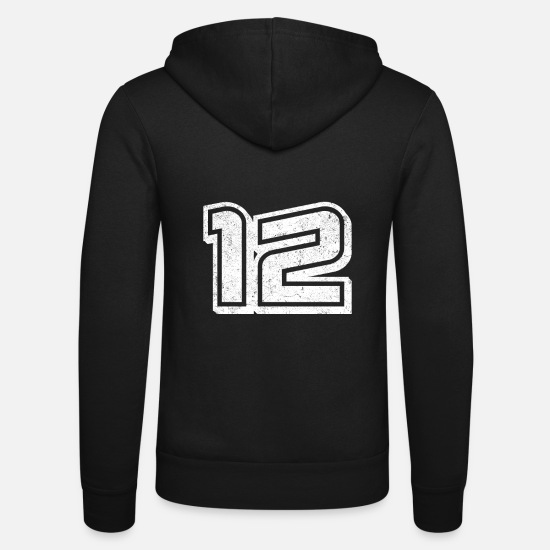 Birthday Hoodies & Sweatshirts - Number 12 Twelve Birthday Gift Jersey Football - Unisex Zip Hoodie black
