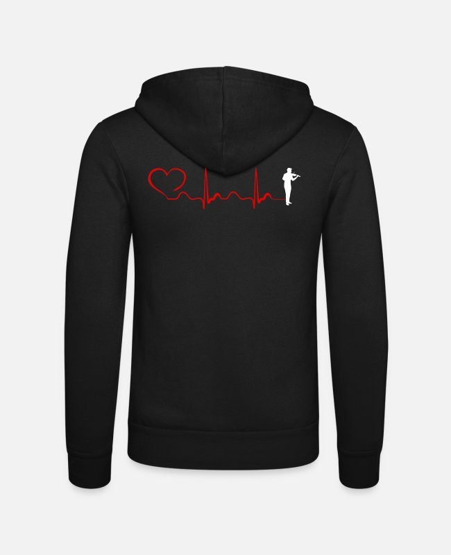 Chain Hoodies & Sweatshirts - Violin Heartbeat And Heart - Unisex Zip Hoodie black