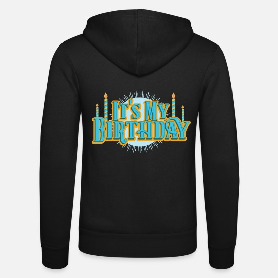 Birthday Hoodies & Sweatshirts - Birthday My Birthday Retro Candles Party Gift - Unisex Zip Hoodie black