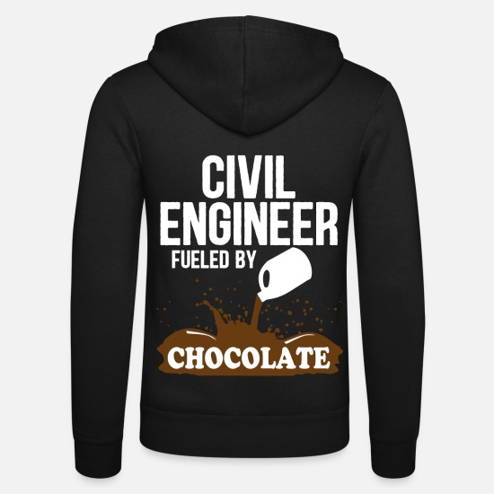 Civil Engineering Hoodies & Sweatshirts - Bauingenier witty saying chocolate gift - Unisex Zip Hoodie black