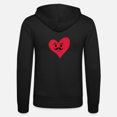 Love heart with a moustache, manly heart, love - Unisex zip hoodie