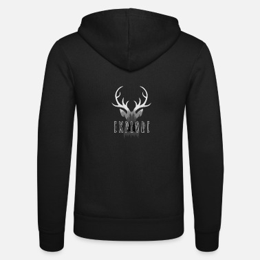 Stag Deer Explore Deer Head Nature Wilderness Exploring - Unisex Zip Hoodie