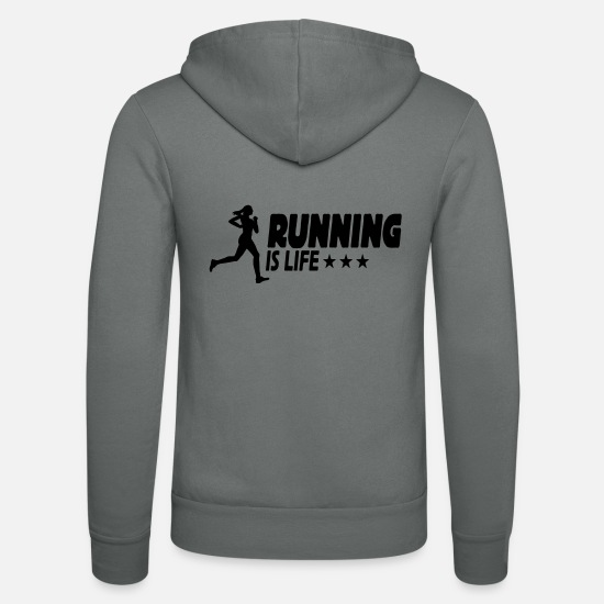 Running Sweat-shirts - running is life female ii 1c - Veste à capuche unisexe gris