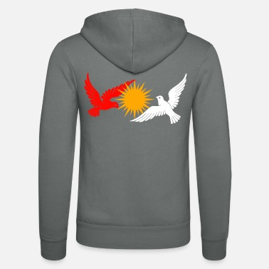 Ezidxan Volgel Taube Ezidi flag orbiting around the sun - Unisex Zip Hoodie