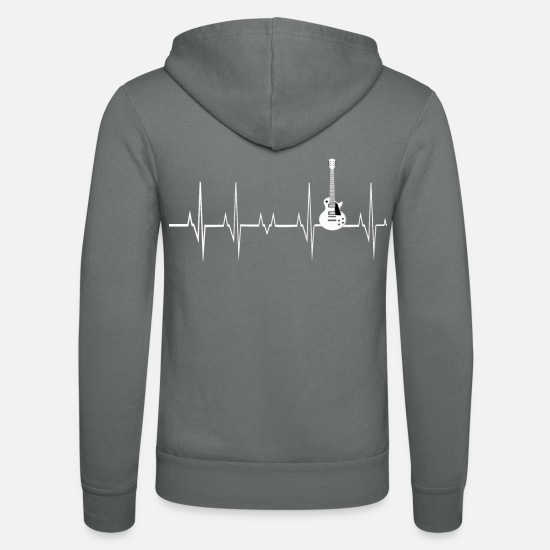 Guitar Hoodies & Sweatshirts - Heartbeat Electric Guitar - Unisex Zip Hoodie grey