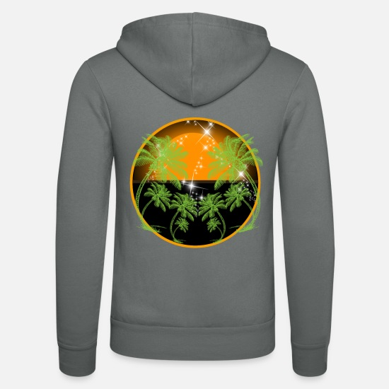 Skies Hoodies & Sweatshirts - Palm trees under a starry sky - Unisex Zip Hoodie grey