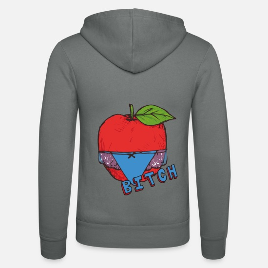 Gift Idea Hoodies & Sweatshirts - Apple Thong Underwear Bitch Funny Sexy - Unisex Zip Hoodie grey