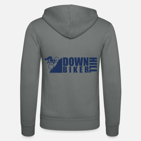 Gift Idea Hoodies & Sweatshirts - Cyclist Downhill Downhill Downhill Bicycle - Unisex Zip Hoodie grey