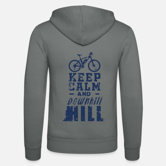 Gift Idea Hoodies & Sweatshirts - Bicycle Downhill Downhill Downhill Cyclist - Unisex Zip Hoodie grey