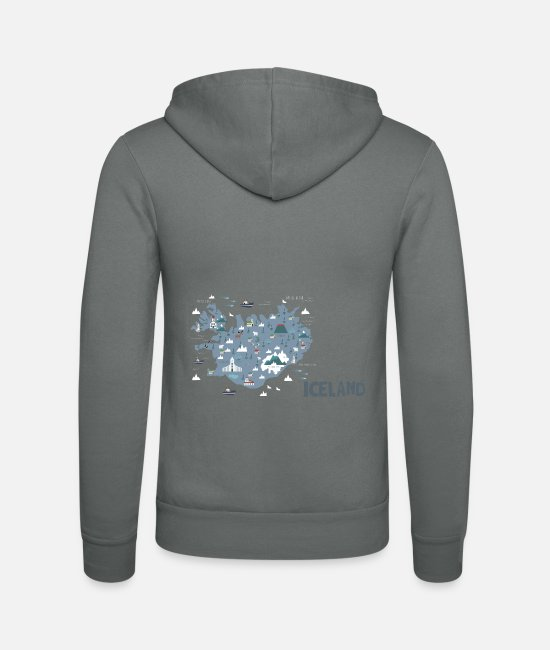 Border Hoodies & Sweatshirts - Iceland, Iceland map - Unisex Zip Hoodie grey