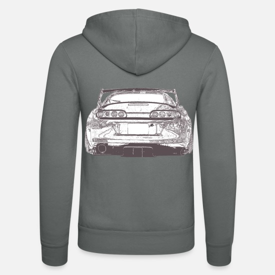 Car Hoodies & Sweatshirts - Supra sports car car - Unisex Zip Hoodie grey