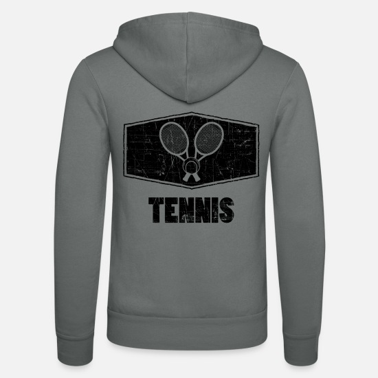 Tennis Match Hoodies & Sweatshirts - Tennis tennis player tennis racket tennis ball - Unisex Zip Hoodie grey