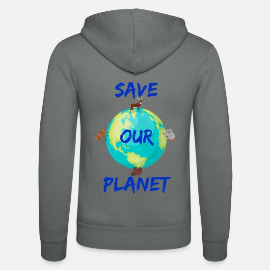 Gift Sweaters & hoodies - Save Our Planet, Climate Protection-shirt - Unisex zip hoodie grijs