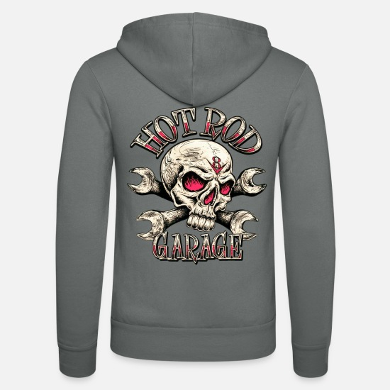 Hot Rod Hoodies & Sweatshirts - Hot Rod Garage V8 - Unisex Zip Hoodie grey