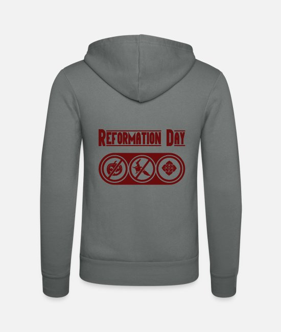 Dean Hoodies & Sweatshirts - Reformation Day Halloween Ecclesiastical Evangelical - Unisex Zip Hoodie grey