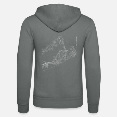 Area Minimal The Hamptons city map and streets - Unisex zip hoodie
